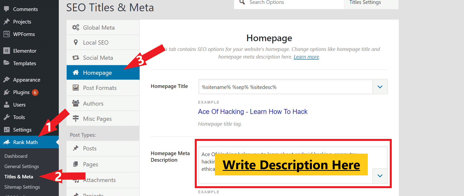 how to add blog description in wordpress