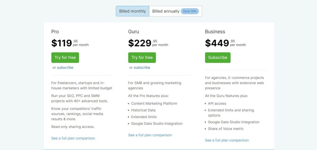 semrush-monthly-billing-Pricing