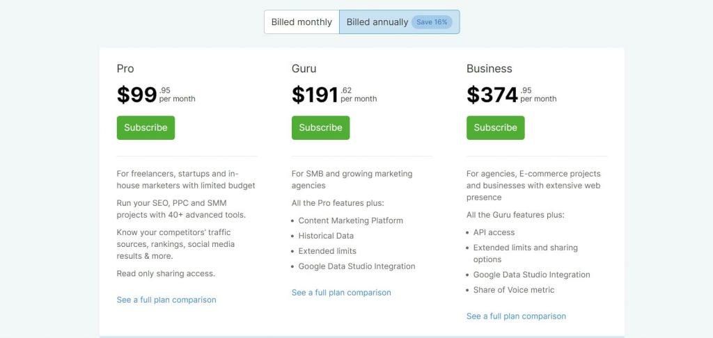 semrush-yearly-billing-Pricing